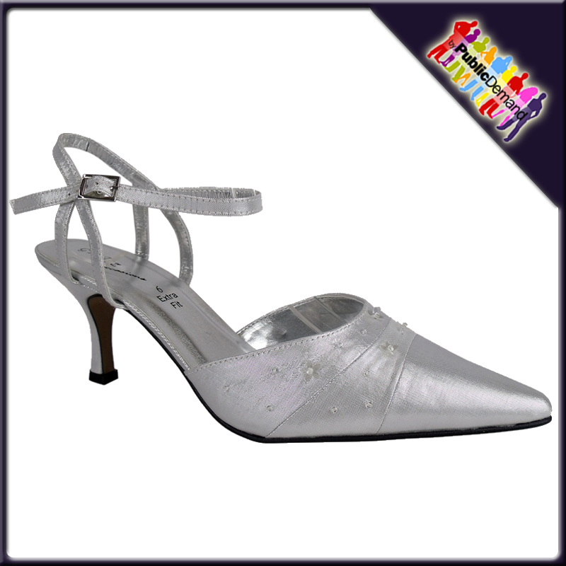 Bridal Shoes Wide Width: LADIES SILVER SATIN WIDE FIT BRIDAL PROM SHOES SIZE 3-8