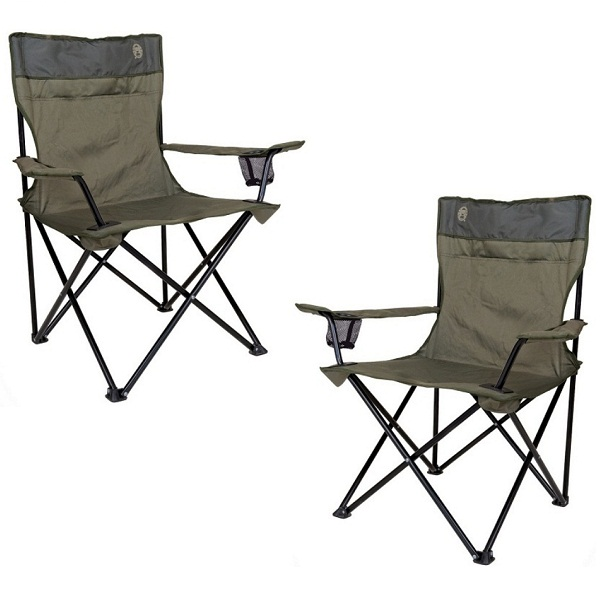 COLEMAN PAIR OF GREEN MESH FOLDING QUAD CHAIR CAMPING FISHING FURNITURE NEW