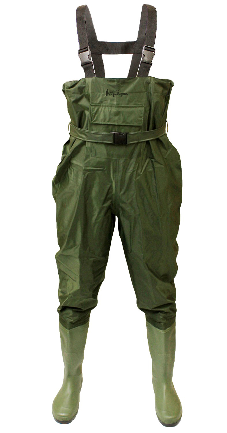 Nylon chest waders with belt sizes 6 12 waterproof fly for Fly fishing waders