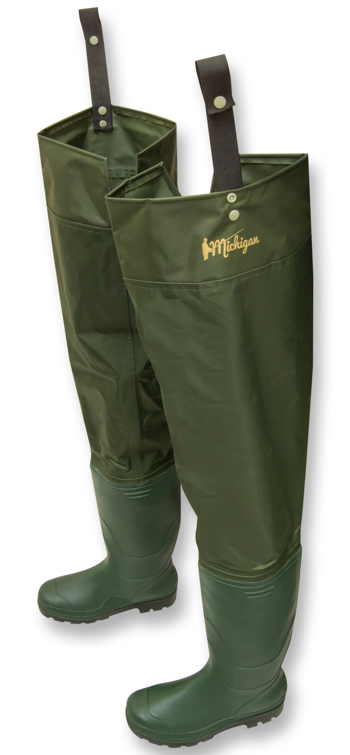 Michigan nylon waterproof fly coarse fishing hip waders for Fishing waders with boots