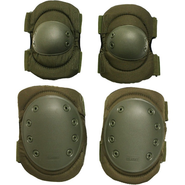 Elbow Amp Knee Pads Set Olive Green Military Paintball Army
