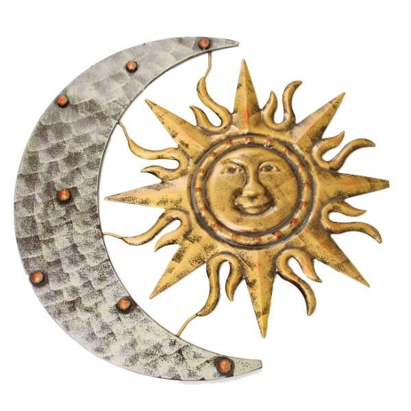 Aztec Sun And Moon Hanging Garden Wall Art Ornament