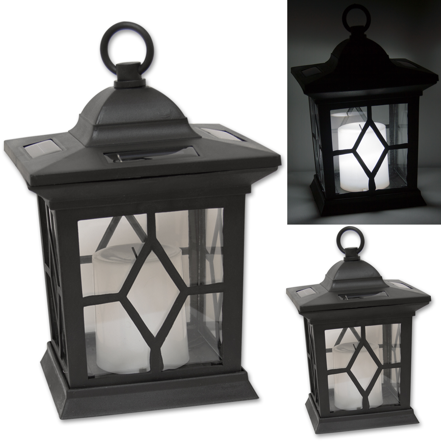 Woodside 2 X Solar Powered Flickering Hanging Candle