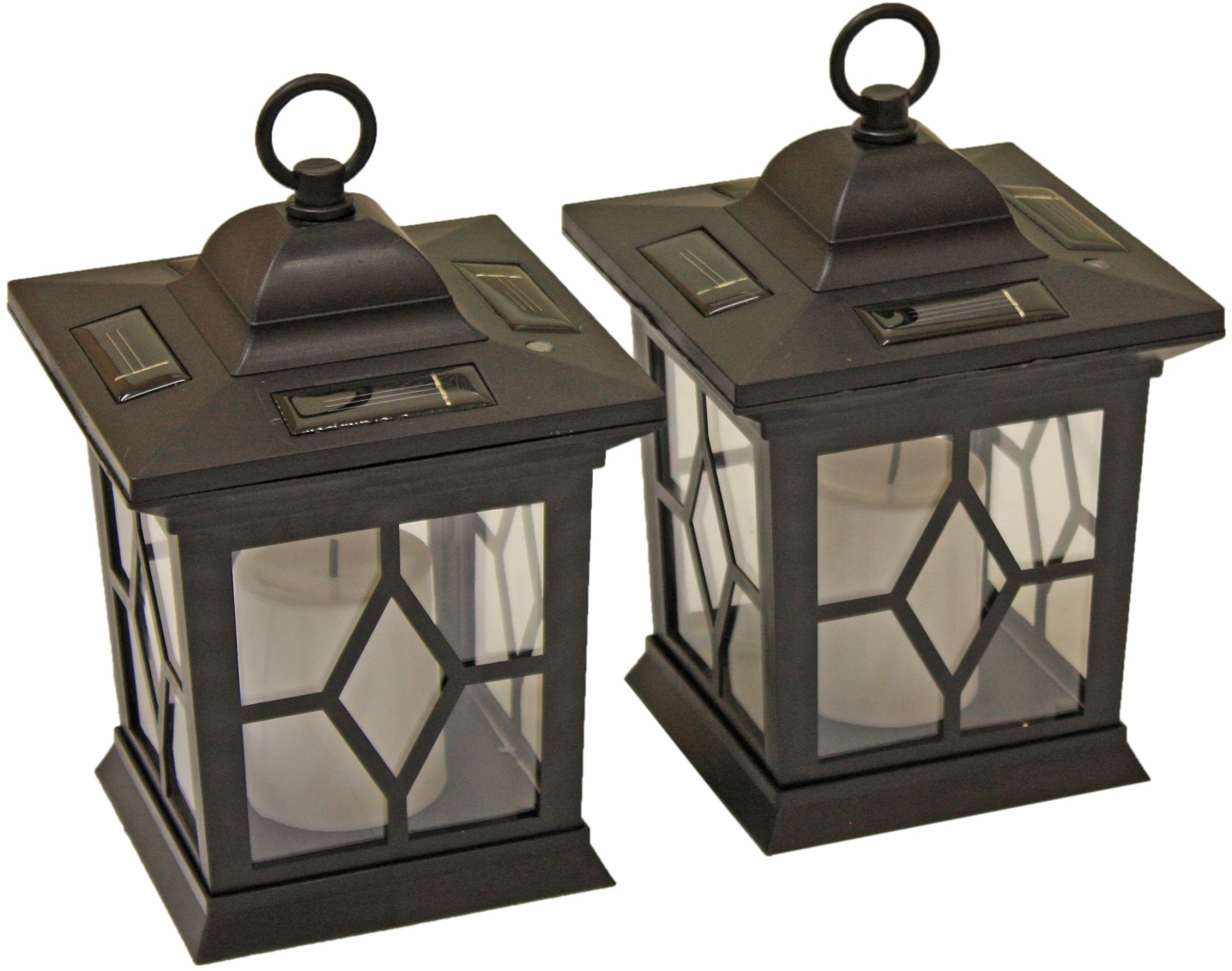 WOODSIDE 2 X SOLAR POWERED FLICKERING HANGING CANDLE ...