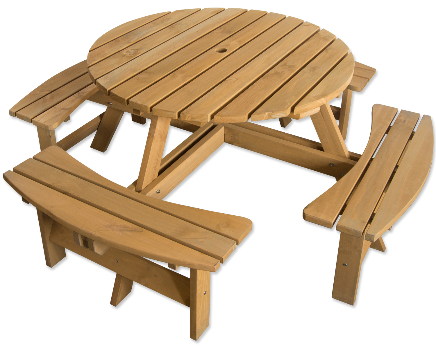 Outdoor 8 seater round bench for pub garden stained pine for Outdoor furniture 8 seater