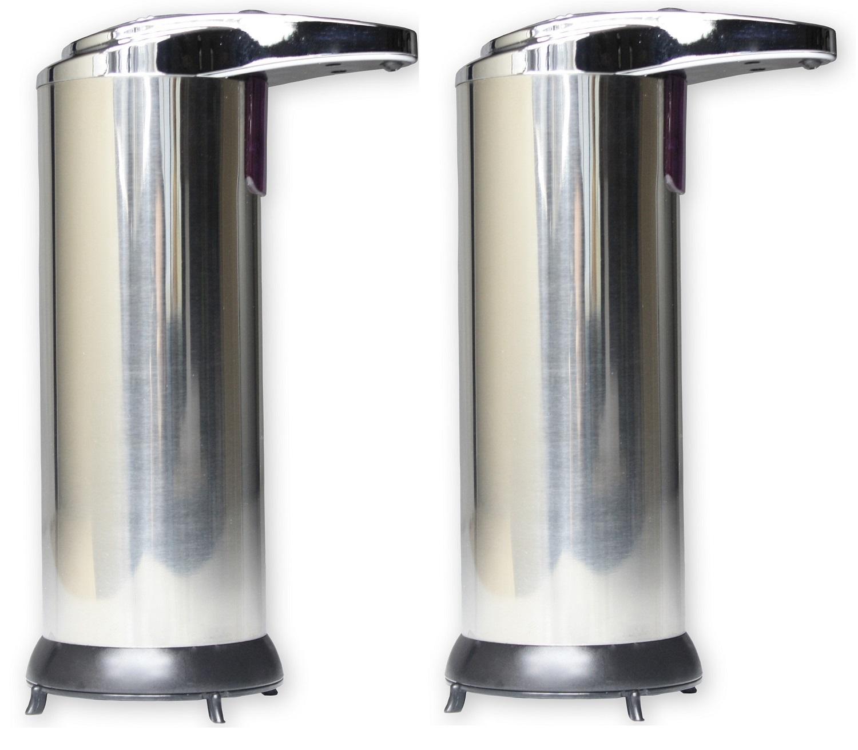 2 X HAUSEN AUTOMATIC HANDS FREE CHROME LIQUID SOAP