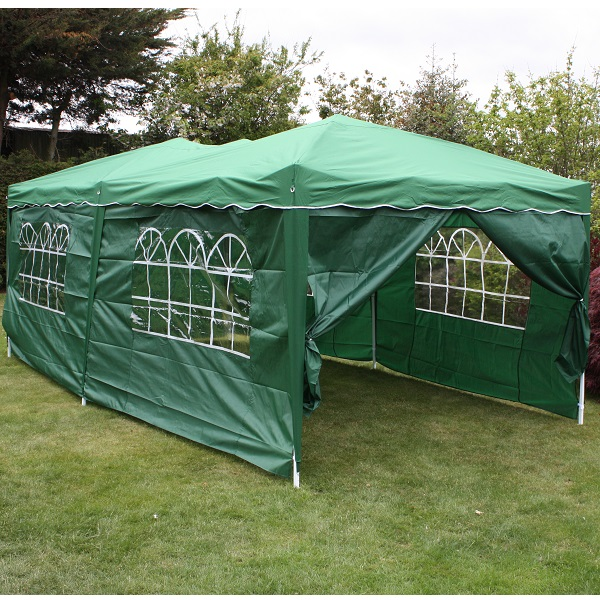 Andes 6m x 3m Folding Gazebo Side Wall Pack - GREEN 1 DOOR