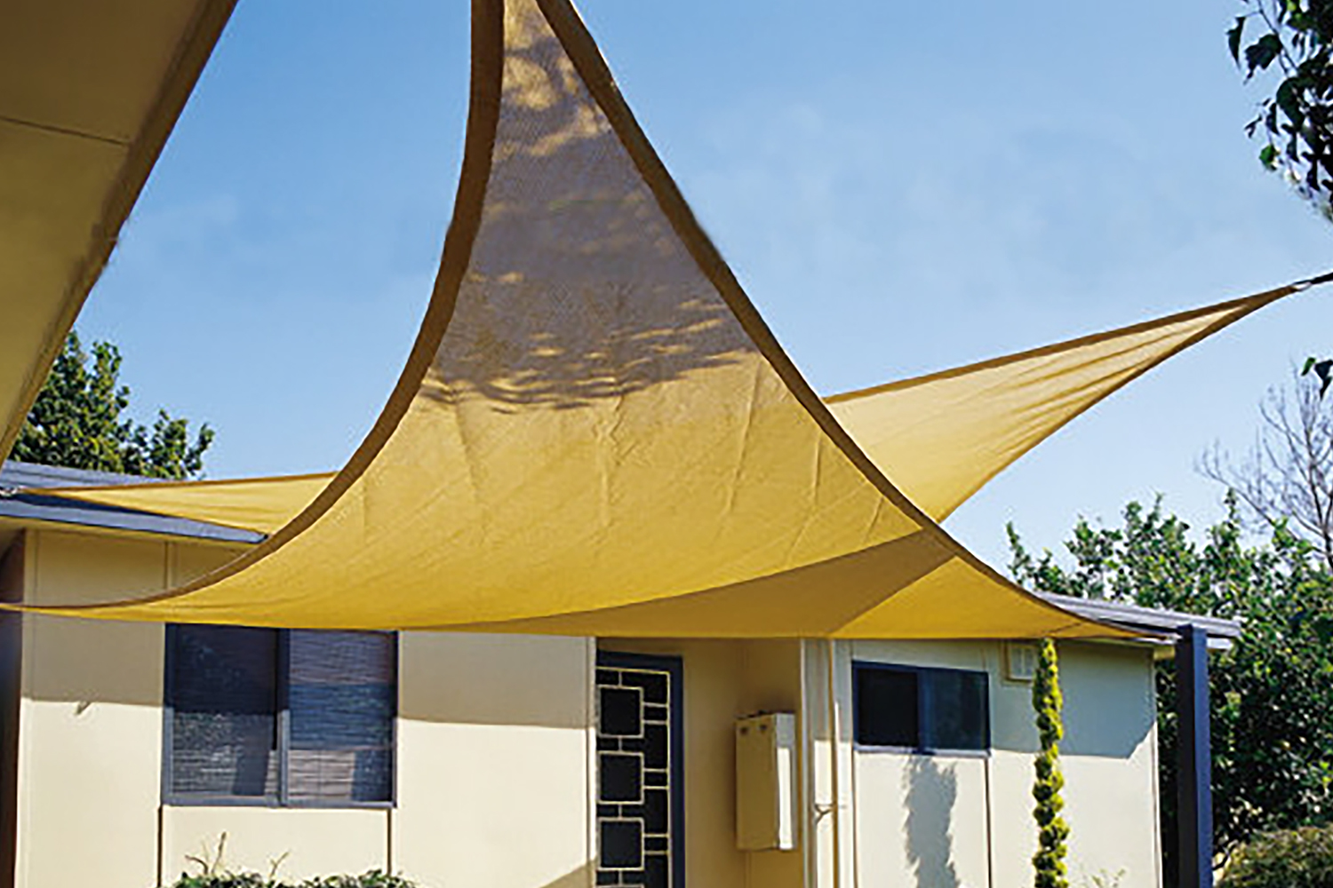 maribelle triangle sun sail shade garden patio canopy with ropes fittings ebay. Black Bedroom Furniture Sets. Home Design Ideas