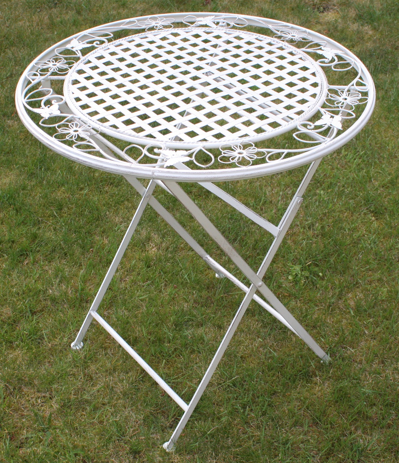 Maribelle round folding outdoor garden patio dining table for White patio table