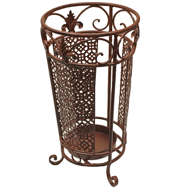 Traditional Umbrella Stand: MARIBELLE ROUND BROWN UMBRELLA & WALKING STICK HOLDER