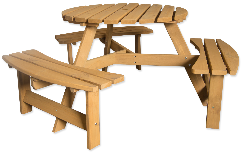 Large Round Wooden Bench 6 Seater Pub Garden Park Furniture Seat Stained Pine Ebay