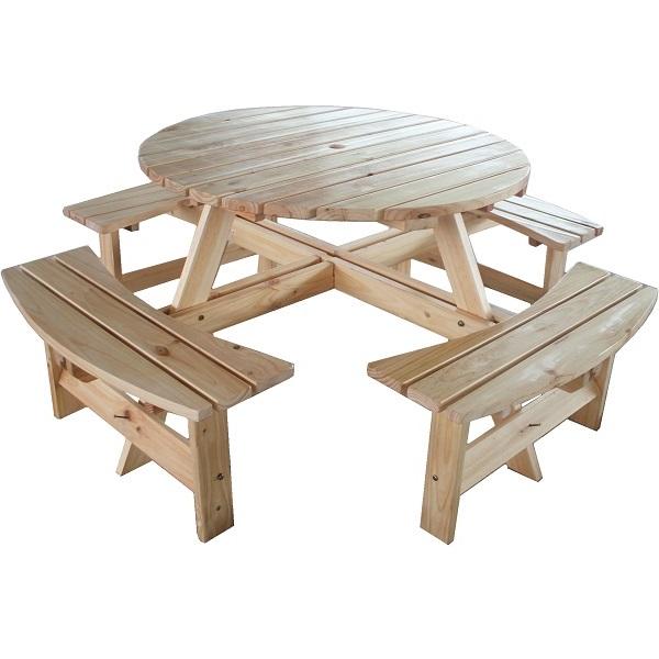 Large Round Wooden Bench 8 Seater Pub Garden Park Furniture Seat Natural Pine Ebay