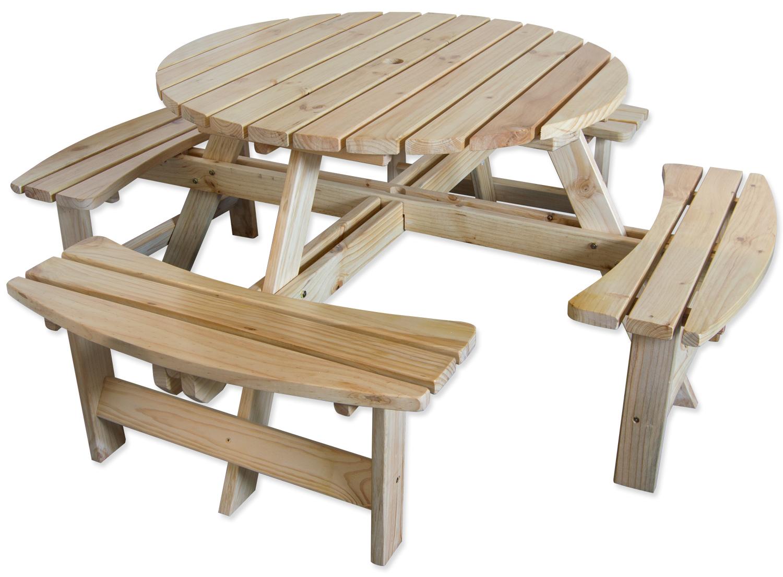Large Round Wooden Bench 8 Seater Pub Garden Park
