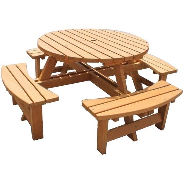 Large Round Wooden Bench 8 Seater Pub Garden Park Furniture Seat Stained Pine Ebay