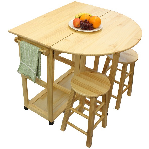 NATURAL PINE WOOD BREAKFAST BAR FOLDING KITCHEN TABLE AND