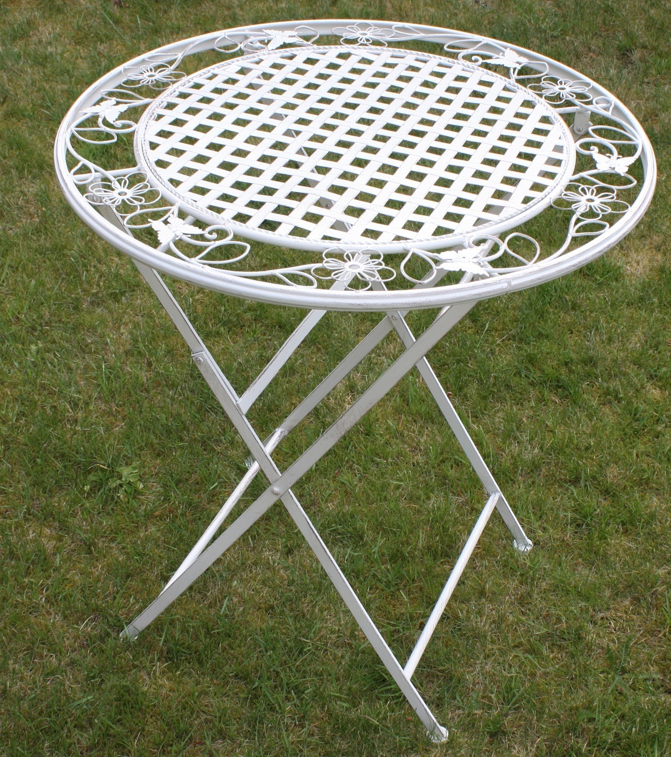 White Floral Outdoor Folding Metal Garden Dining Table Patio Furniture Set Ebay