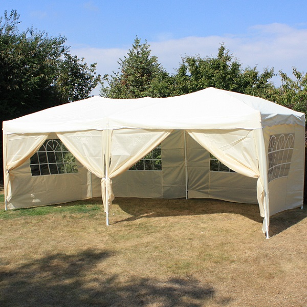 Andes 6m x 3m Folding Gazebo Side Wall Pack - BEIGE 2 DOORS
