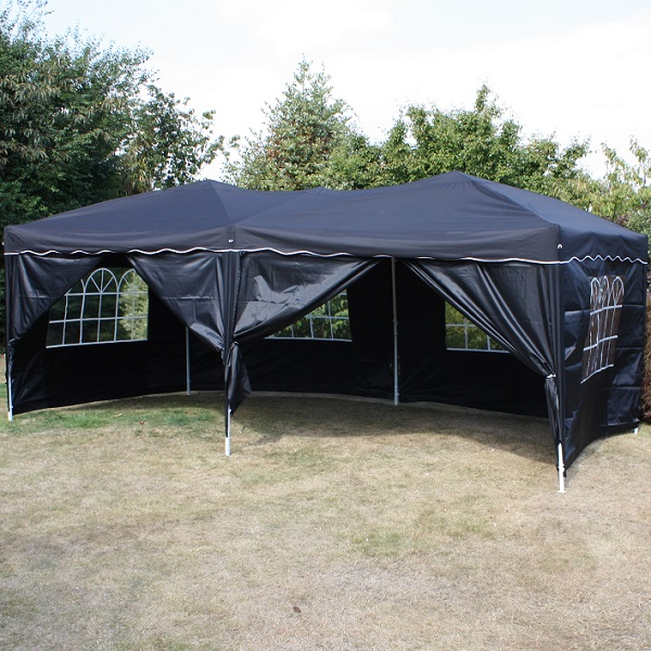 Andes 6m x 3m Folding Gazebo Side Wall Pack - BLACK 2 DOORS