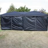 Andes 6m x 3m Folding Gazebo Side Wall Pack - BLACK 2 DOORS Thumbnail 2