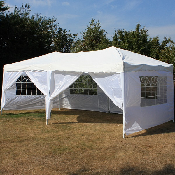 Andes 6m x 3m Folding Gazebo Side Wall Pack - WHITE 2 DOORS