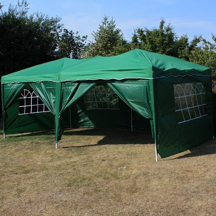 Andes 6m x 3m Folding Gazebo Side Wall Pack - GREEN 2 DOORS
