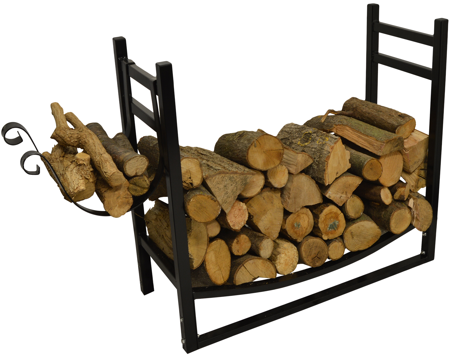 hausen indoor wood rack with kindling holder fireplace