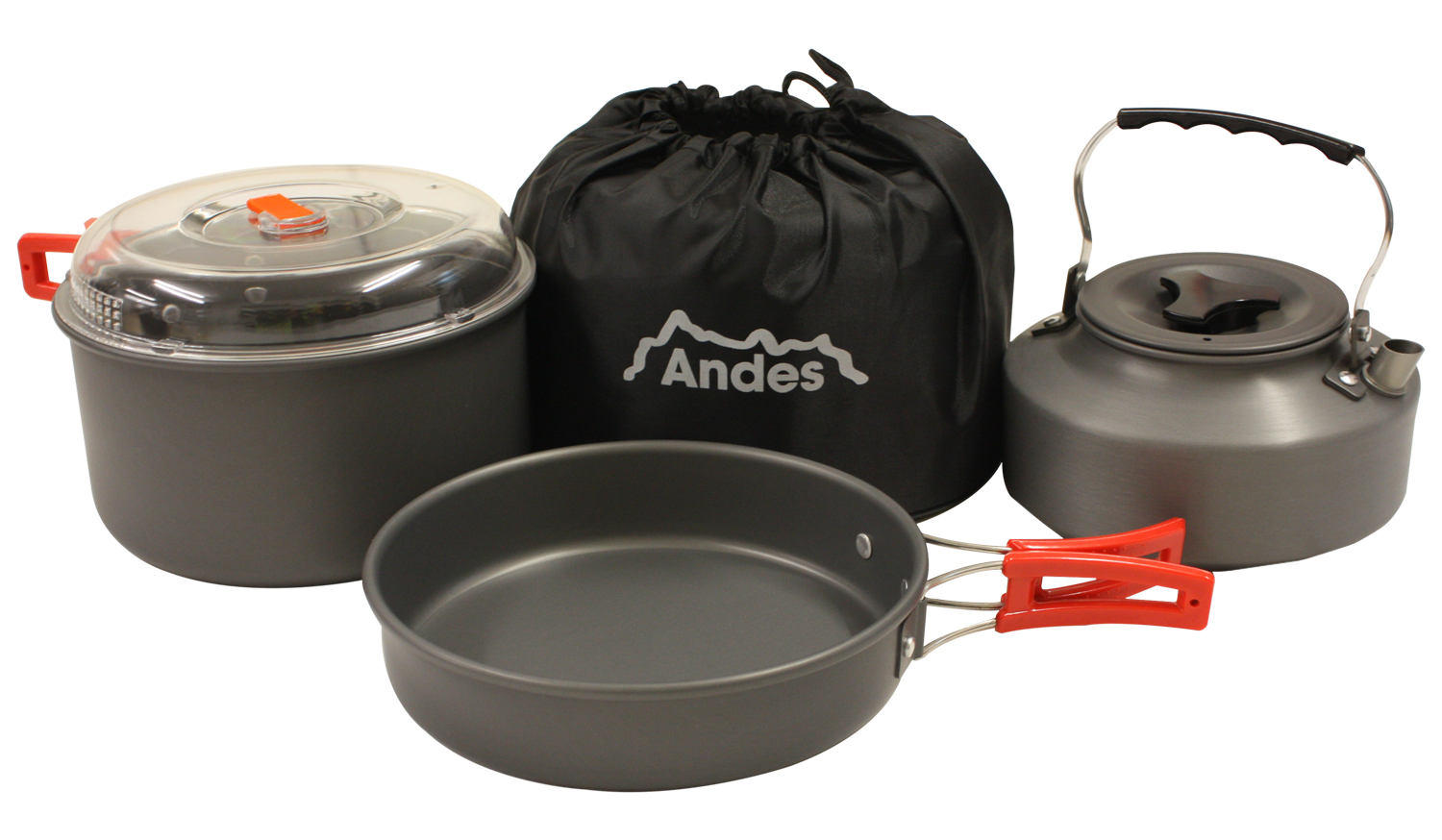 Andes portable camping anodised aluminium cookware set for Kitchen set portable