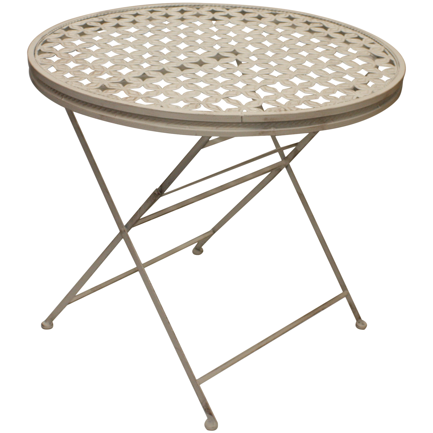 Woodside round folding metal garden patio dining table for Garden patio table