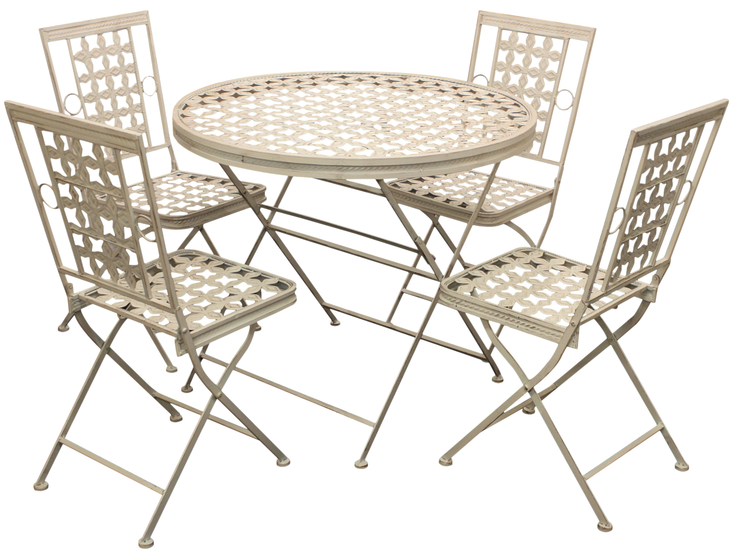 Woodside folding metal outdoor garden patio dining table for Metal garden table and chairs