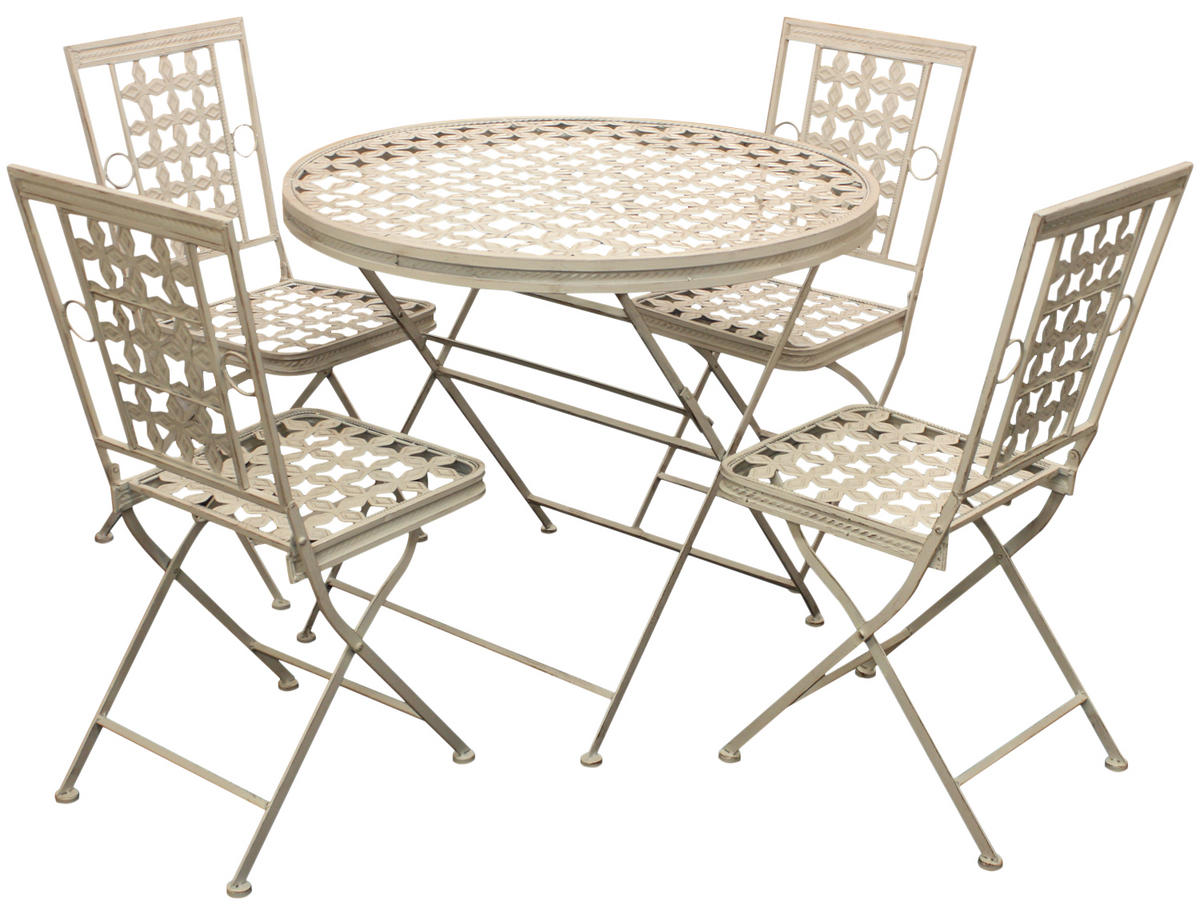 Woodside Round Metal Table & Four Square Chairs