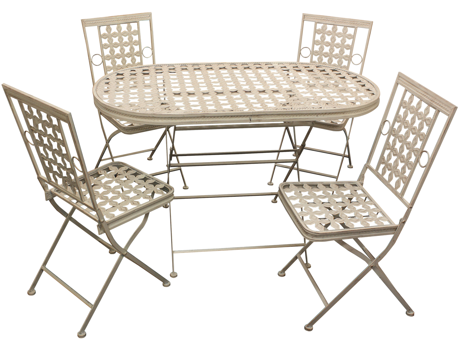Maribelle folding metal outdoor garden patio dining table for Metal patio table and chairs set