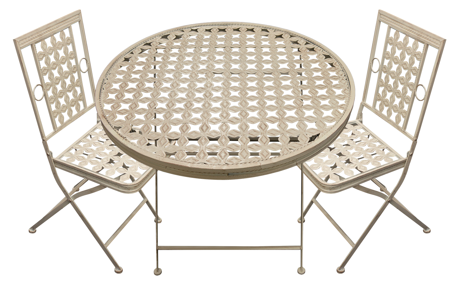 Folding Round Garden Patio Table With 2 Square Chairs Outdoor Metal Furniture
