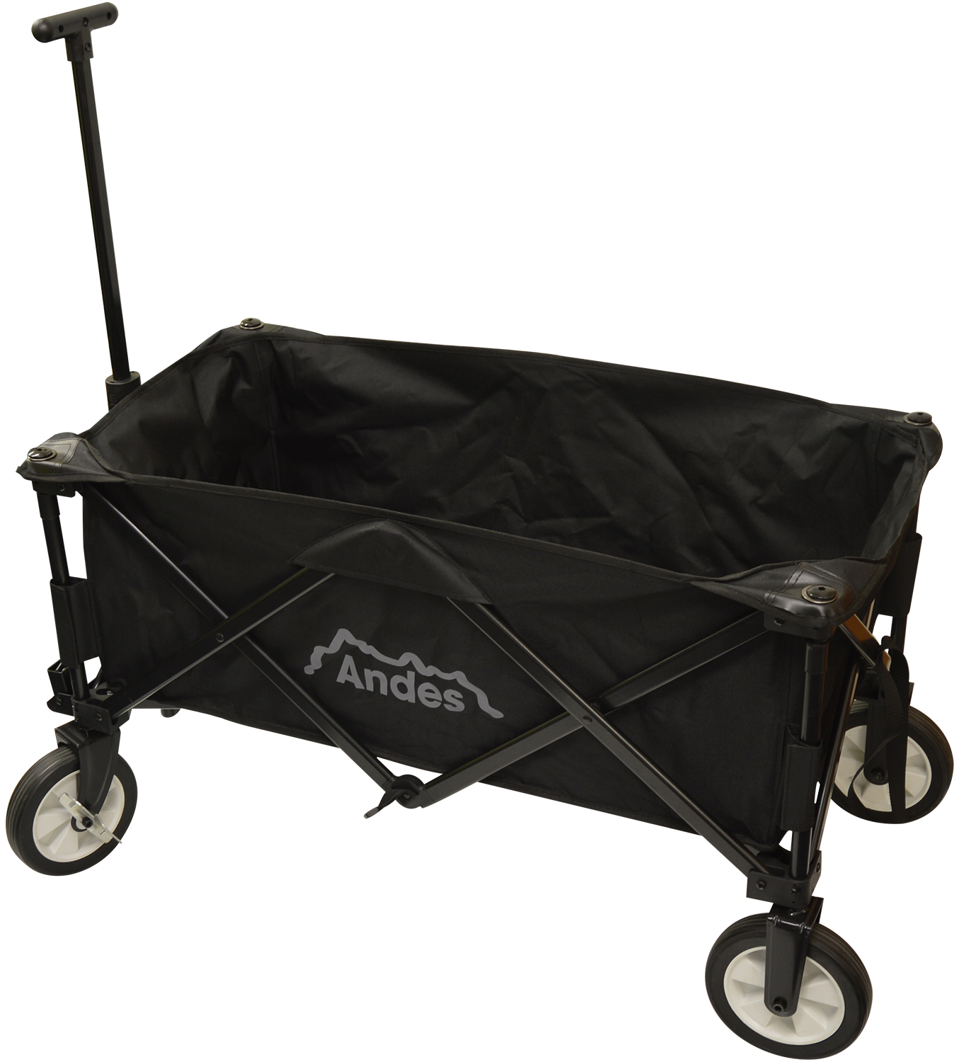 Andes black collapsible portable folding camping wagon for Folding fishing cart