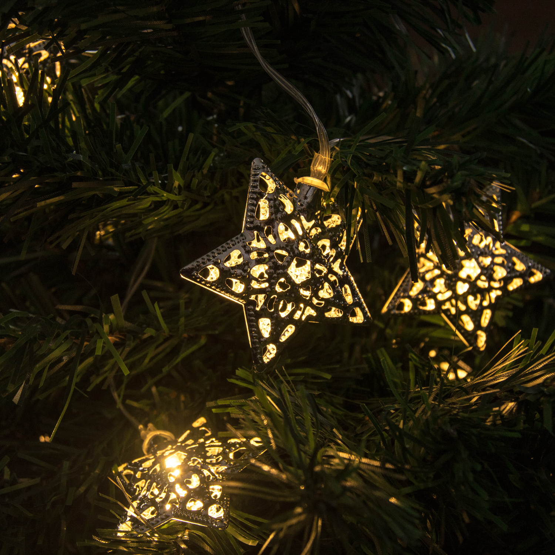 Star String Lights Outdoor : Woodside 12 LED Solar Powered Star Garden Outdoor Decoration/Party String Lights