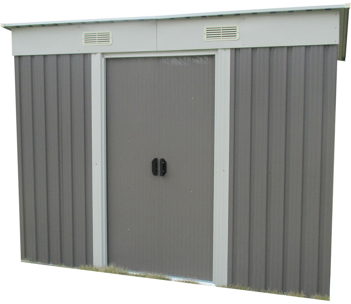Woodside Oxbridge Metal Garden Pent Roof Shed with FREE Foundation GREY