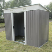 Woodside Oxbridge Metal Garden Pent Roof Shed with FREE Foundation GREY Thumbnail 3