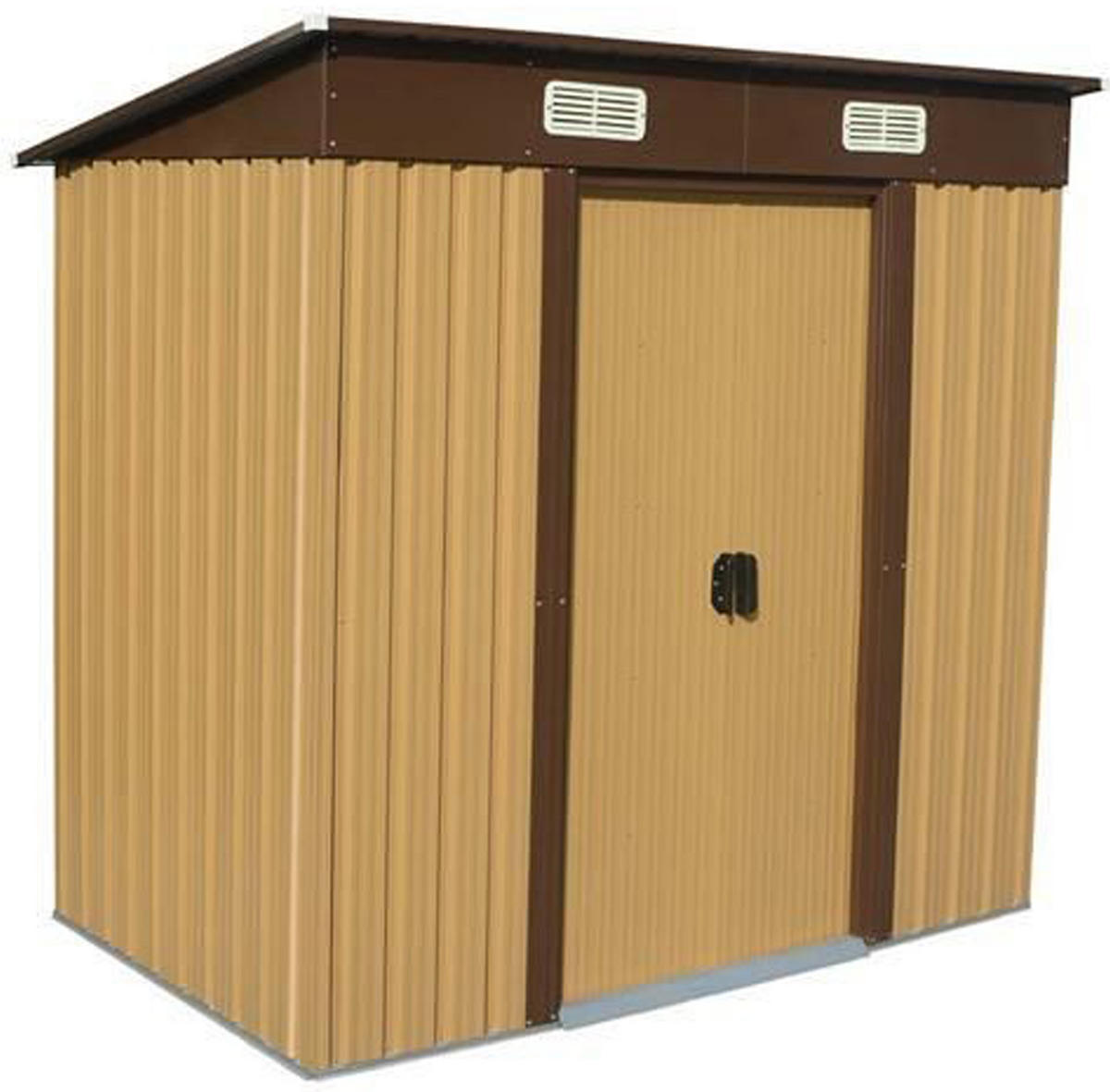 Woodside Elmwood Metal Garden Pent Roof Shed with FREE Foundation WOOD