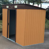 Woodside Elmwood Metal Garden Pent Roof Shed with FREE Foundation WOOD Thumbnail 3