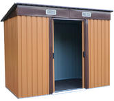 Woodside Elmwood Metal Garden Pent Roof Shed with FREE Foundation WOOD Thumbnail 2