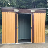Woodside Elmwood Metal Garden Pent Roof Shed with FREE Foundation WOOD Thumbnail 5