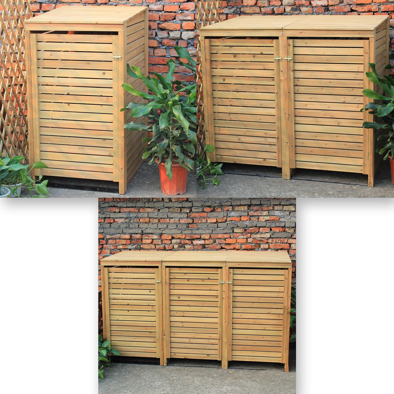 Woodside Wooden Outdoor Wheelie Bin Cover Storage Cupboard
