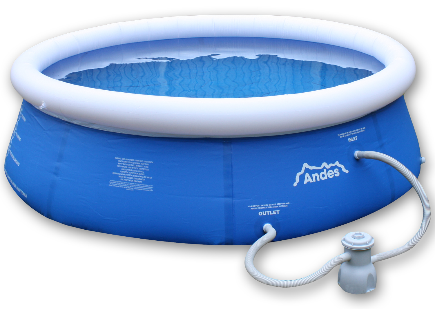 Andes round inflatable above ground family outdoor garden swimming paddling pool ebay for Above ground inflatable swimming pools