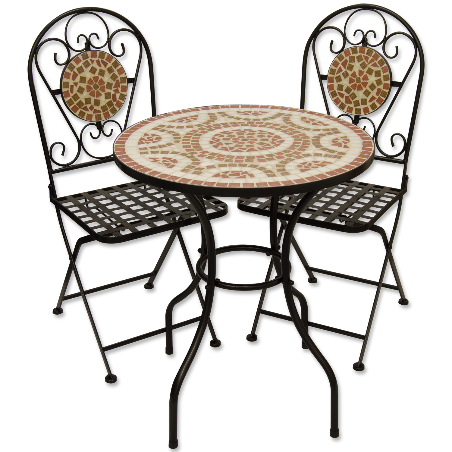 mosaic outdoor dining garden table and folding chair set terracotta ebay. Black Bedroom Furniture Sets. Home Design Ideas