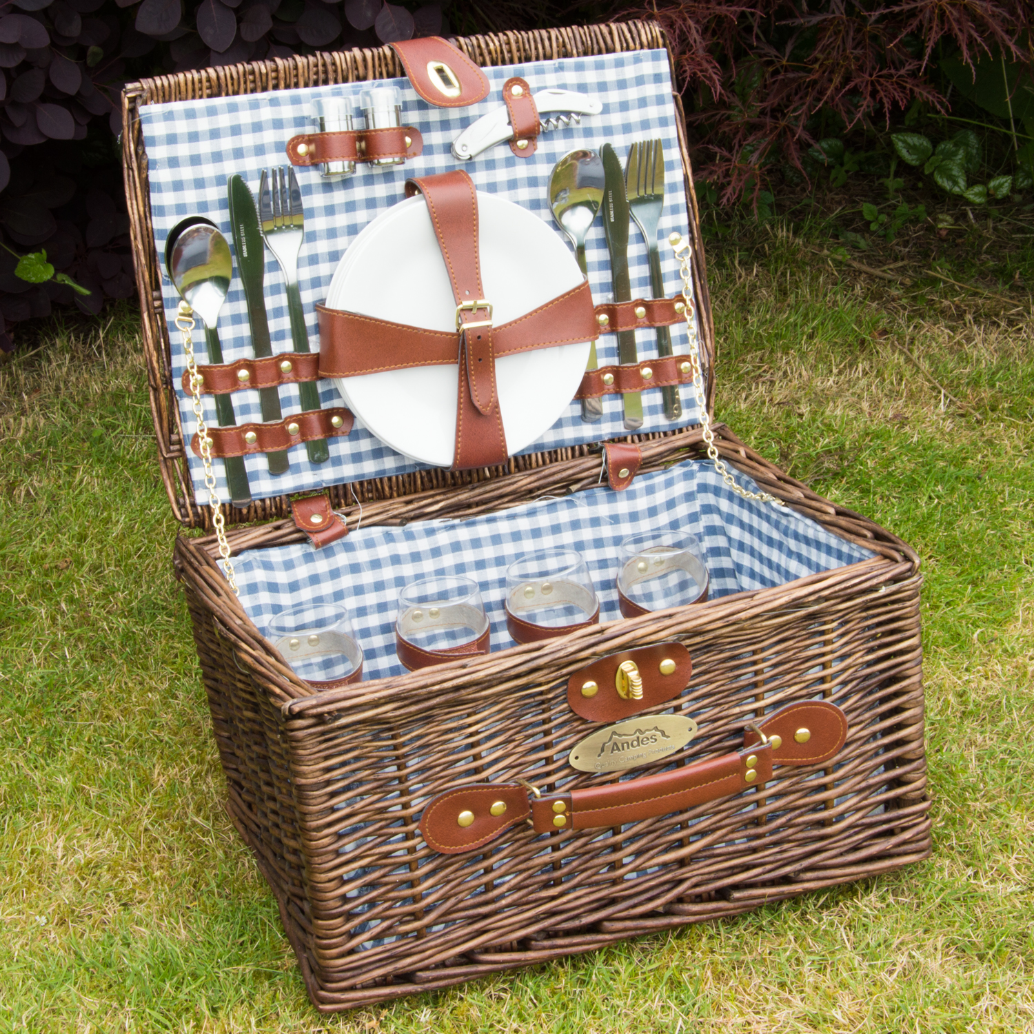 Luxury picnic baskets uk : Andes person luxury wicker basket outdoor summer picnic