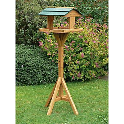 Traditional wooden bird feeder feeding table station ebay - Bird feeder garden designs ...