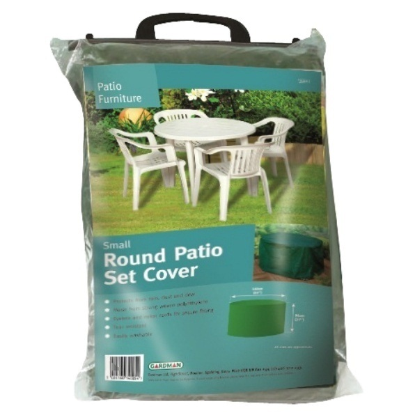 SMALL ROUND GARDEN PATIO SET WINTER COVER PLASTIC WOODEN TABLE WATERPROOF NEW