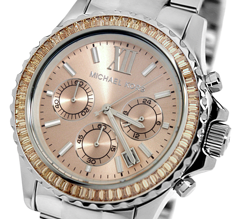 Michael Kors Ladies Everest Rose Dial Silver Bracelet