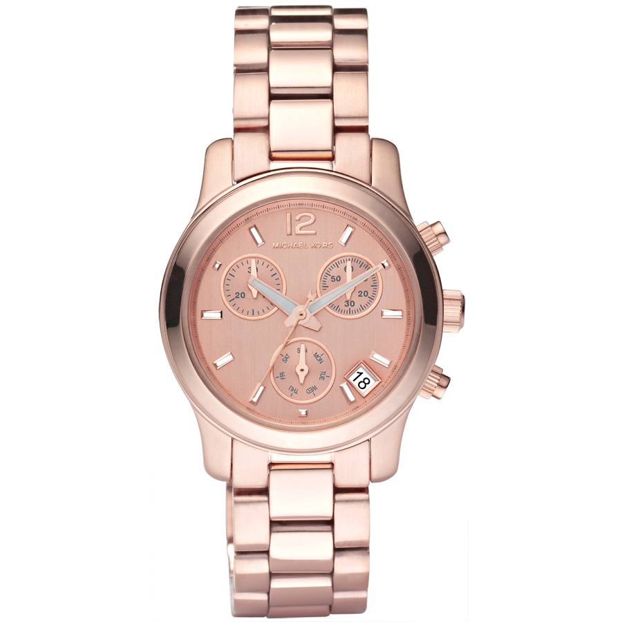 michael kors ladies rose gold tone chronograph runway. Black Bedroom Furniture Sets. Home Design Ideas