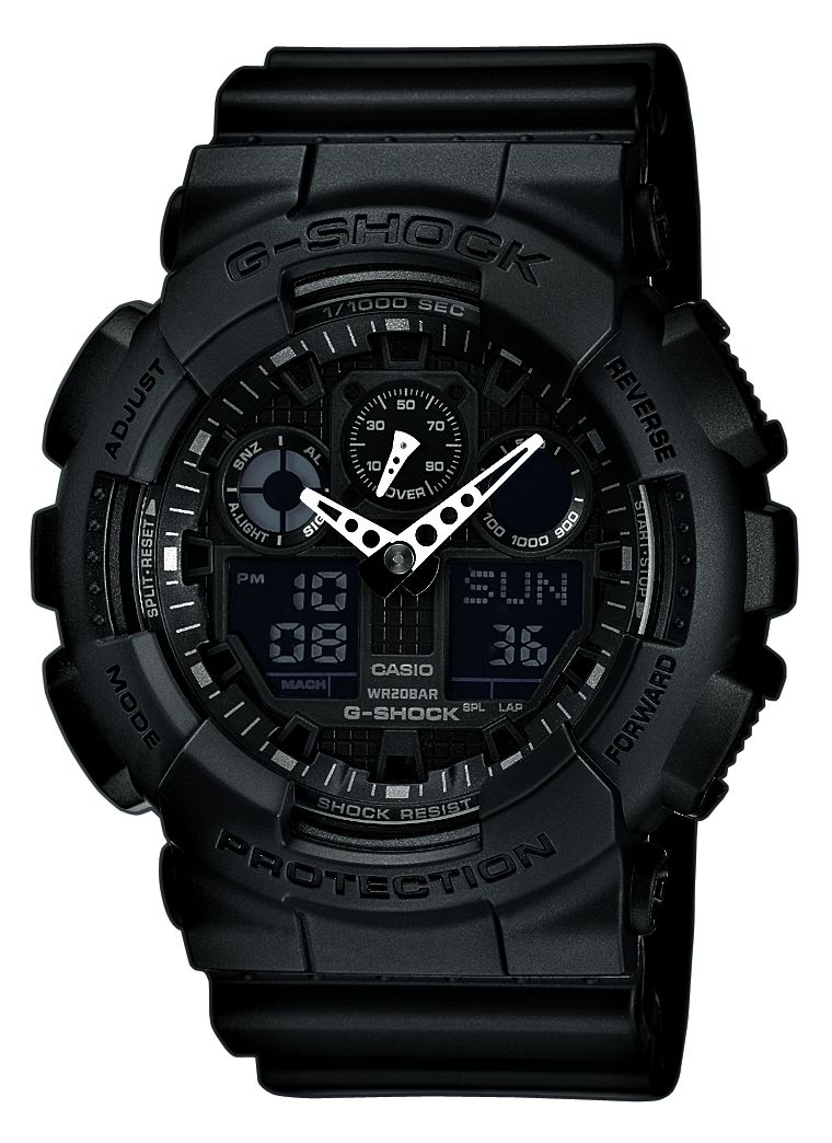 casio g shock ga 100 black shock resistant water resistant gents sports watch ebay. Black Bedroom Furniture Sets. Home Design Ideas