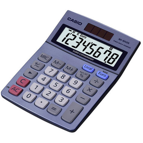Casio Desk Calculator & Converter with Euro Currency Conversion & Solar Power Thumbnail 2